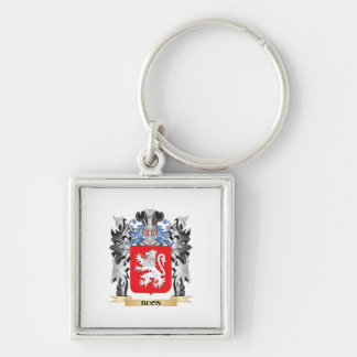 Buon Coat of Arms - Family Crest Silver-Colored Square Key Ring