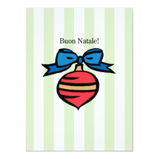 Buon Natale 6.5x8.75 Red Ornament Greeting Card GR 17 Cm X 22 Cm Invitation Card