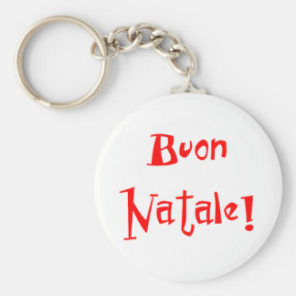Buon Natale Basic Round Button Key Ring