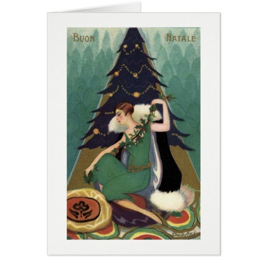 Buon Natale Christmas card Art Deco design