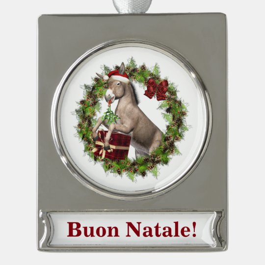 Buon Natale Christmas Donkey Banner Ornament