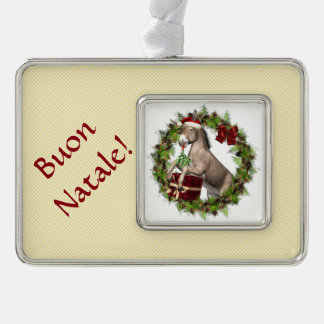 Buon Natale Christmas Donkey Silver Plated Framed Ornament