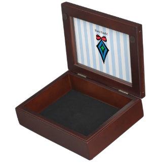Buon Natale Diamond Christmas Ornament Blue Keepsake Box