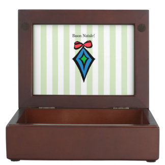 Buon Natale Diamond Christmas Ornament Green Keepsake Box