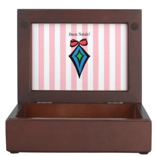 Buon Natale Diamond Christmas Ornament Pink Keepsake Box
