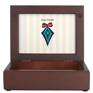 Buon Natale Diamond Christmas Ornament Yellow Keepsake Box