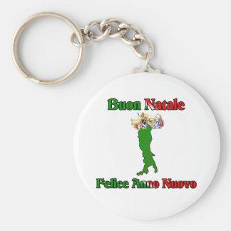 Buon Natale e Felice Anno Nuovo Basic Round Button Key Ring