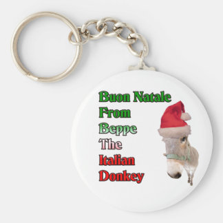 Buon Natale From Beppe The Italian Donkey Basic Round Button Key Ring