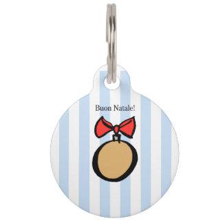 Buon Natale Gold Christmas Ornament Pet Tag Blue