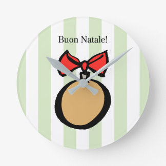 Buon Natale Gold Ornament Med. Round Wall Clock GR