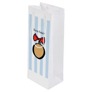Buon Natale Gold Round Medium Wine Gift Bag Blue