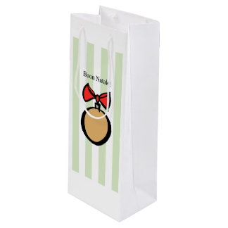 Buon Natale Gold Round Wine Gift Bag Green