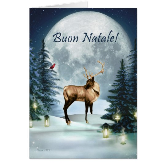 Buon Natale - Italian Christmas Winter Deer Card