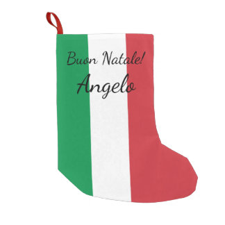 Buon Natale Italian flag personalized name Holiday Small Christmas Stocking