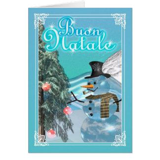 Buon Natale Italian Merry Christmas card snowman