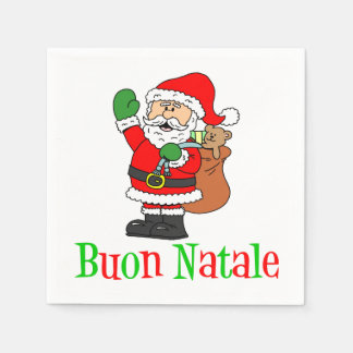 Buon Natale Italian Merry Christmas Santa Napkins Disposable Napkin