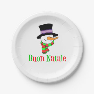 Buon Natale Italian Merry Christmas Snowman Paper Plate