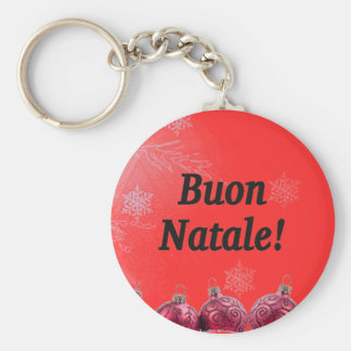 Buon Natale! Merry Christmas in Italian bf Basic Round Button Key Ring