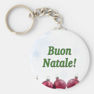 Buon Natale! Merry Christmas in Italian gf Basic Round Button Key Ring