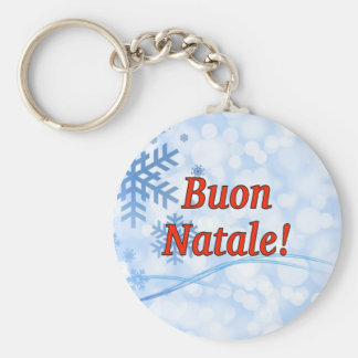 Buon Natale! Merry Christmas in Italian rf Basic Round Button Key Ring