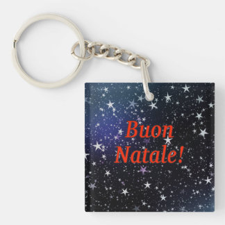 Buon Natale! Merry Christmas in Italian rf Single-Sided Square Acrylic Key Ring
