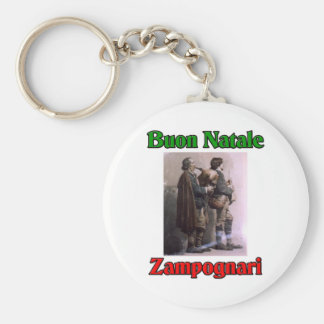 Buon Natale (Merry Christmas) Zampognari Basic Round Button Key Ring
