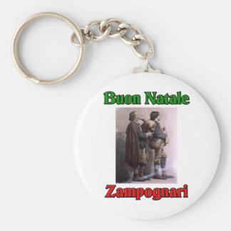 Buon Natale (Merry Christmas) Zampognari Basic Round Button Key Ring