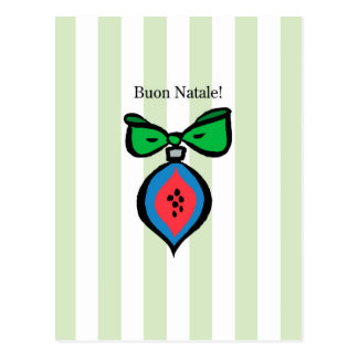 Buon Natale Red/Blue Ornament Postcard Green