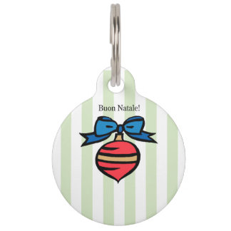Buon Natale Red Christmas Ornament Dog Tag Green