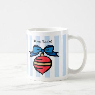 Buon Natale Red Christmas Ornament Mug Blue