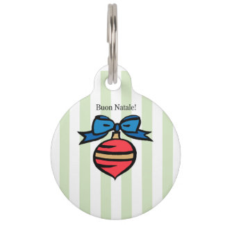 Buon Natale Red Christmas Ornament Pet Tag Green