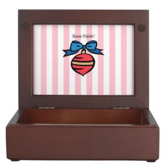 Buon Natale Red Christmas Ornament Pink Keepsake Box