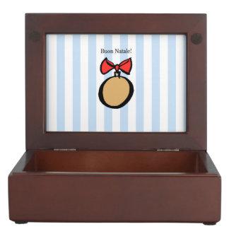 Buon Natale Round Gold Christmas Ornament Blue Keepsake Box