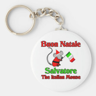 Buon Natale Salvatore The Italian Mouse Basic Round Button Key Ring