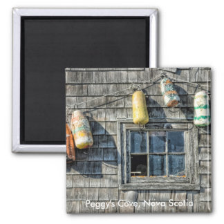 Buoys on a Wall, Peggy's Cove, Nova Scotia. Magnet