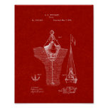 Buoys Patent - Burgundy Red Poster