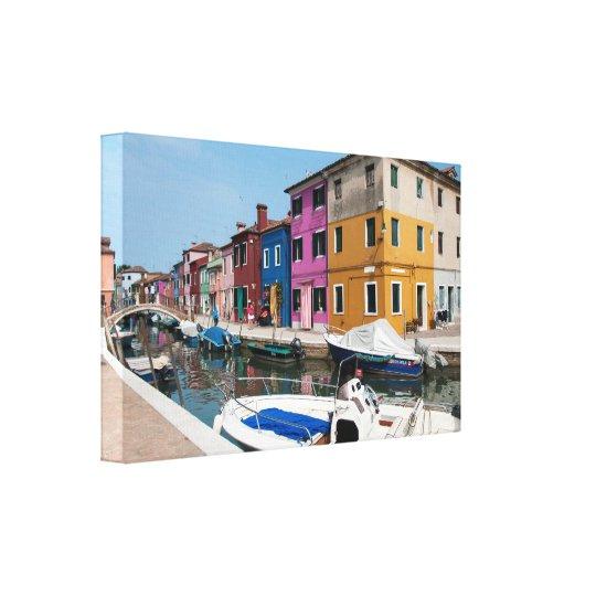 Burano coloured houses canvas print