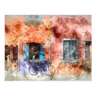 Burano  near Venice Italy Postcard