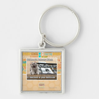 Burbon St. Balcony Kitteh Silver-Colored Square Key Ring