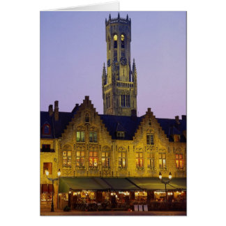 Burg Square and Belfry Tower, Bruges, Belgium Card