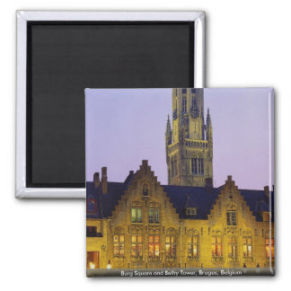 Burg Square and Belfry Tower, Bruges, Belgium Magnet