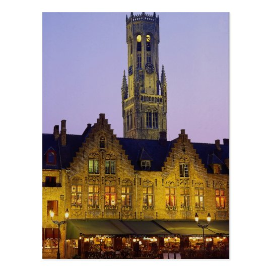 Burg Square and Belfry Tower, Bruges, Belgium Postcard
