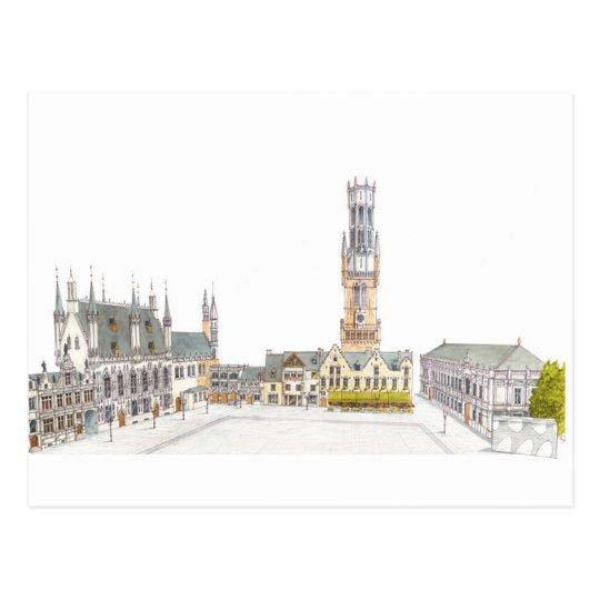 Burg Square. Bruges Belgium. Postcard