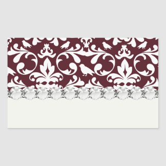 burgandy and white bird damask ornate pattern rectangular sticker
