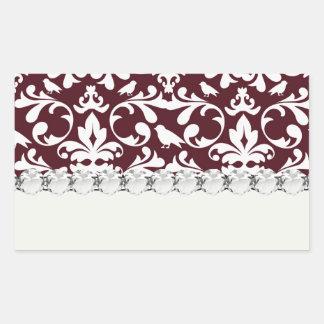 burgandy and white bird damask ornate pattern rectangular stickers