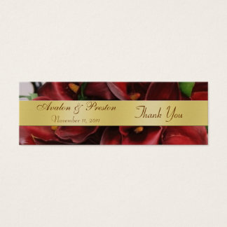 Burgandy Red Cali Lilies Floral Wedding Favor Tag Mini Business Card