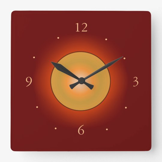 Burgandy with Orange Glow Centre>Wall Clock
