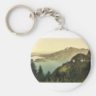 Burgenstock, hotel and lake, Lake Lucerne, Switzer Basic Round Button Key Ring