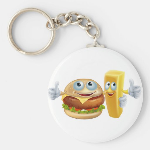 Burger and chip characters keychain