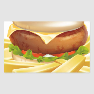 Burger and chips or french fries rectangle stickers